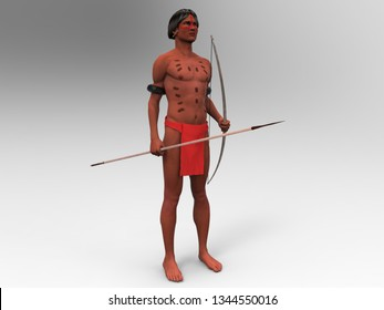 3d illustration of an indigenous of the yanomami ethnicity