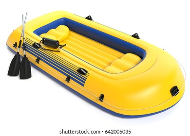 3d illustration of an inflatable boat