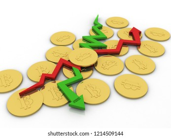 3d illustration inflation and deflation graph with bit coin