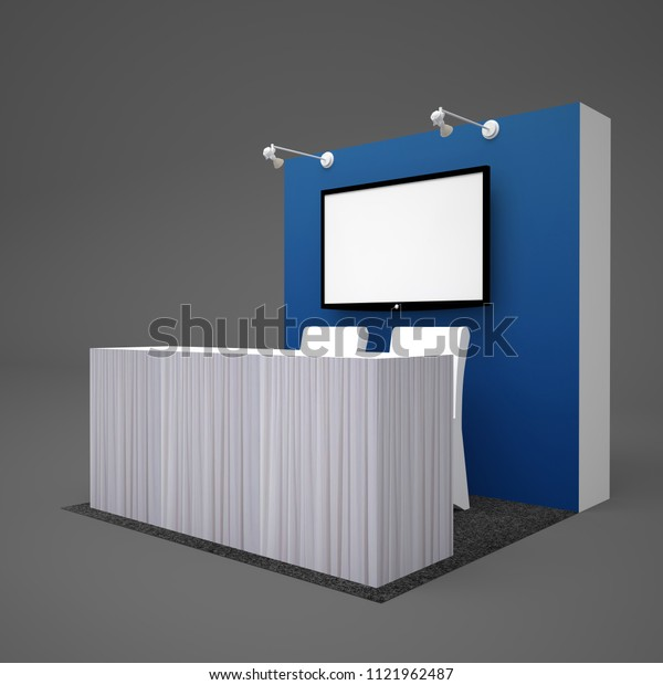 3d illustration information center backdrop led TV With spotlight and chair table cover white curtain flooring grey carpet. High resolution image.
