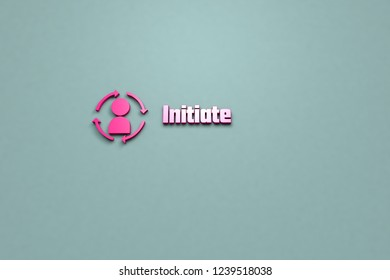 3D Illustration of Initiate with pink text on grey-green background