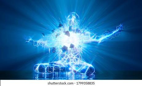 3D illustration. The inner light bursts out