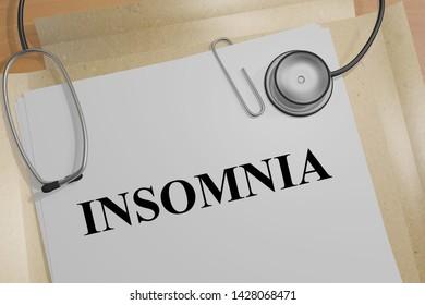 3D illustration of INSOMNIA title on a medical document