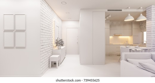 3d illustration of the interior design of an apartment in Scandinavian style. Architectural visualization of the interior hallway and living room in white colors ambient occlusion