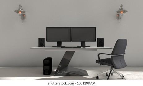 Gaming Computer Setup Stock Illustrations Images Vectors
