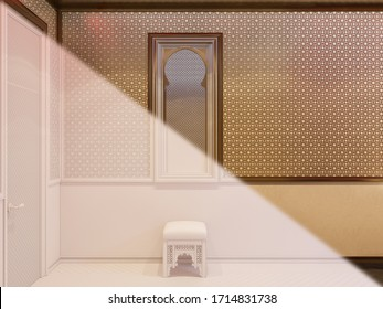 3d illustration, interior design of a hotel room in a traditional Islamic style. 3d render room interior with Middle Eastern motifs. Image for presentation, inspiration or design of you project