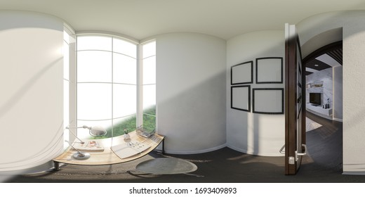 3d illustration of the interior design of the living room. Render is executed, 360 degree spherical seamless panorama for virtual reality.