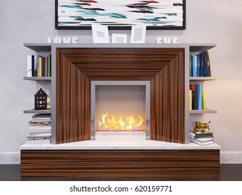 3d illustration of the interior design of the living room. The interior style of the apartment is modern in gray and white tonesl. Decorating a wall with a ethanol bio fireplace and bookshelves