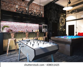 "3d illustration of interior design loft style. The concept of commercial interiors ""My room"" for gatherings with friends and Leisure. It is possible to watch football and play computer games"