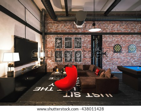 """3d illustration of interior design loft style. The concept of commercial interiors """"My room"""