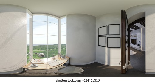 3d illustration of the interior design of the small home office. The style of the apartment is modern. Render is executed, 360 degree spherical seamless panorama for virtual reality.
