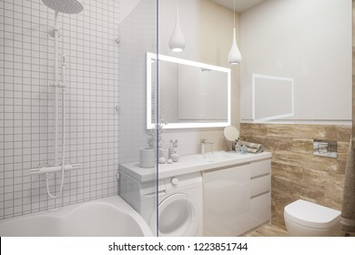 3d illustration of an interior design of a white minimalist bathroom. Modern Scandinavian style of interior. Bathroom without textures and materials
