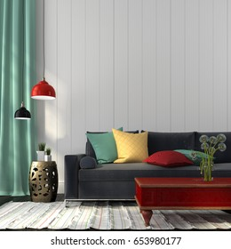 3D illustration. Interior in eclectic style, consisting of modern sofa, colored decor and classic red table