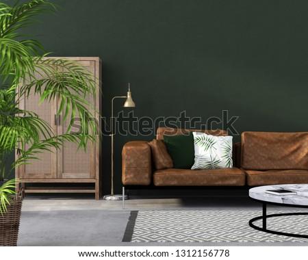 3 D Illustration Interior Living Room Brown Stock Illustration