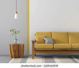 3D illustration. Interior with a yellow sofa, gray decor and concrete floor