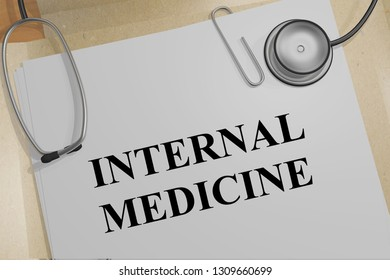 3D illustration of INTERNAL MEDICINE title on a medical document