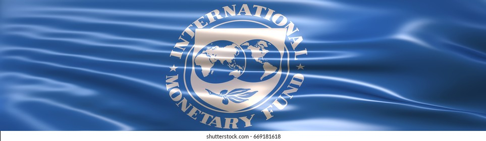 3D Illustration of the International Monetary Fund (IMF) flag rendered in large wide format.