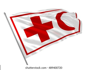 3d illustration of International Red Cross and Red Crescent Movement flag waving in the wind