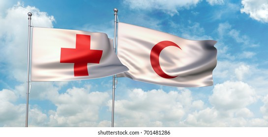 3D Illustration of International Red Cross and Red Crescent Movement flags waving against blue sky