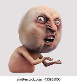 3D illustration. Internet meme Why You No. Rage face. Isolated