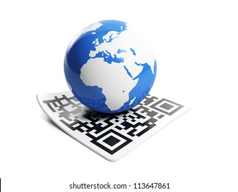 3d illustration of internet technology. Barcode and earth