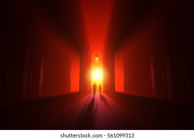 3D Illustration - Into the Light of Enlightenment