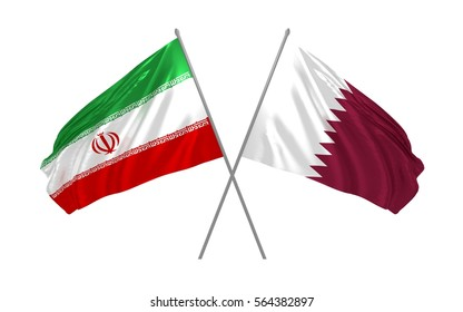 3d illustration of Iran and Qatar crossed state flags waving