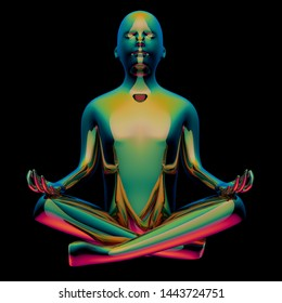 3d illustration of iron man lotus pose stylized figure polished glossy green colorful. Human nirvana mental guru yoga zen like character. Isolated on black