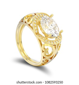 3D illustration isolated gold decorative engagement diamond ring with shadow on a white background