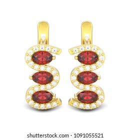 3D illustration isolated gold diamond red ruby earrings with hinged lock with shadow on a white background