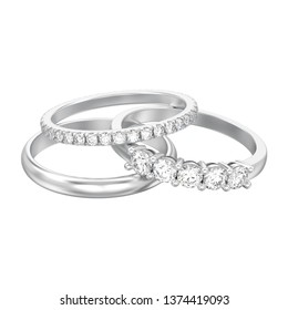 3D illustration isolated jewelry three different white gold or silver diamonds rings on a white background