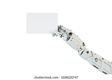 3D illustration of the isolated robot hand with the white blank