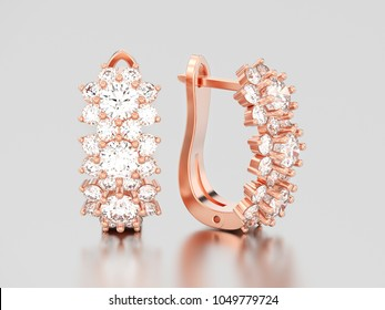 3D illustration isolated rose gold diamond earrings with hinged lock on a gray background