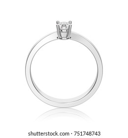 3D illustration isolated white gold or silver decorative solitaire engagement diamond ring with reflection on a white background