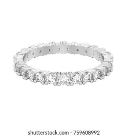 3D illustration isolated white gold or silver eternity band diamond ring on a white background