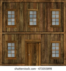 3D illustration of an isolated wooden wall building from the Wild West. Suitable for use in projects on imagination, creativity and design. Digital illustration art work.