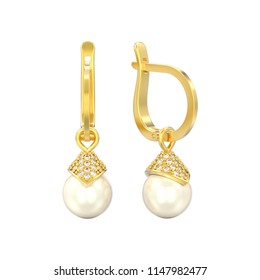 3D illustration isolated yellow gold pearl diamond earrings with hinged lock on a white background