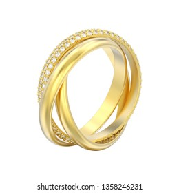 3D illustration isolated yellow gold decorative three in one covered diamond ring on a white background