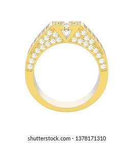 3D illustration isolated yellow gold diamond signet ring on a white background