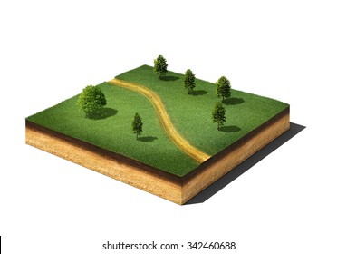 3d illustration of isometric cross section of ground cutaway with grass, trees and footpath isolated on white