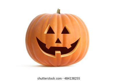3D illustration of jack O Lantern on white. Clipping path included. It stands ready to for Halloween and the tradition of Trick-Or-Treat.