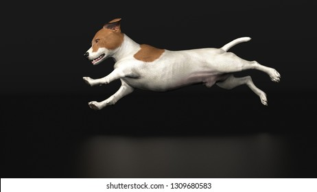 3d illustration of jackrussel terrier dog side view when running