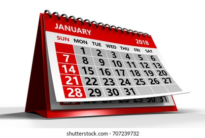 3d illustration of january 2018 calendar over white background with shadow