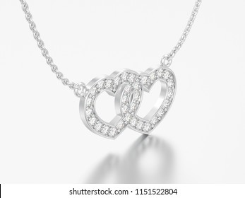 3D illustration jewelry two hearts white gold or silver diamond necklace on chain on a grey background