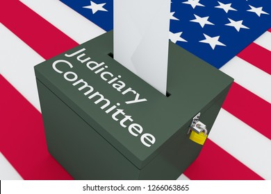 3D illustration Judiciary Committee script on a ballot box, with US flag as a background.