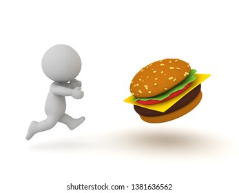 3D illustration of junk food addiction concept. 3D Rendering isolated on white.