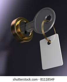 3d illustration of key with blank tag over dark background