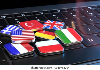 3D illustration keyboard with flags