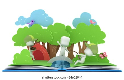 3D Illustration of Kids Camping on Popup Book