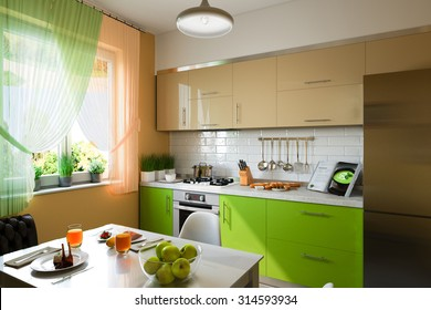 3D illustration of kitchen with beige and green facades